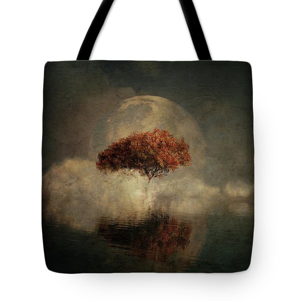 Tote Bag featuring the digital art Dream Landscape With Full Moon by Jan Keteleer