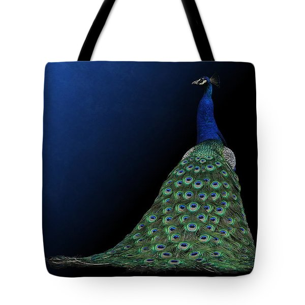 Tote Bag featuring the photograph Dressed To Party - Male Peacock by Debi Dalio
