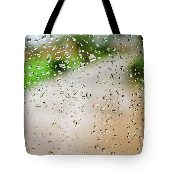 Drops Of Rain On An Autumn Day On A Glass. Tote Bag