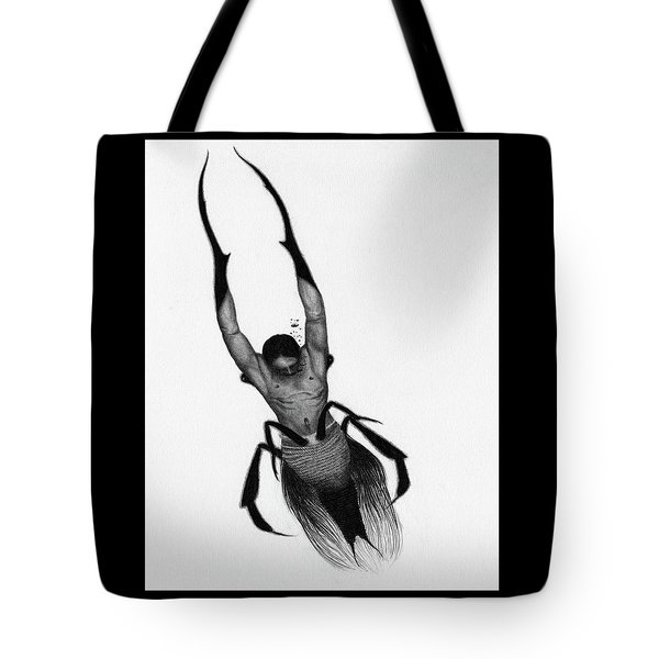 Tote Bag featuring the drawing Drowned Samurai Kaito - Artwork by Ryan Nieves