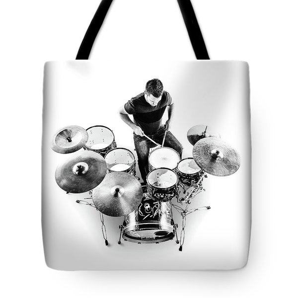 Drummer From Above Tote Bag