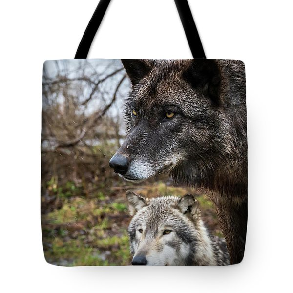 Dual Wolves Tote Bag