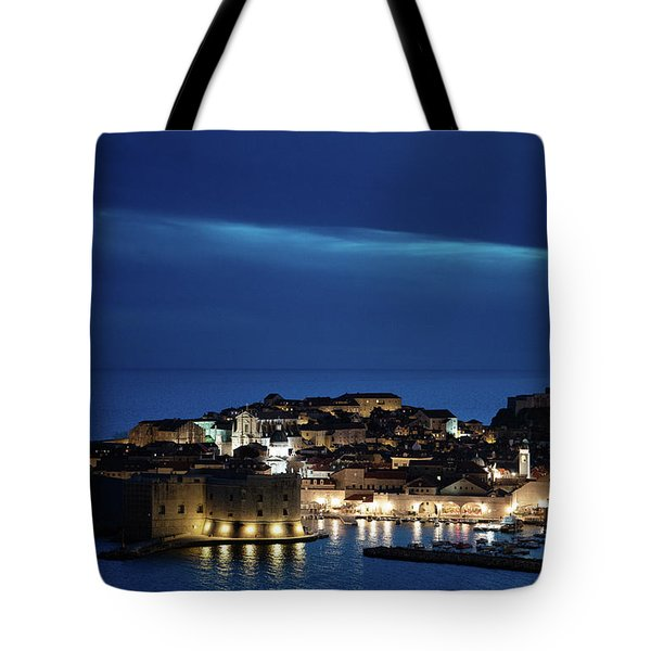 Tote Bag featuring the photograph Dubrovnik Old Town At Night by Milan Ljubisavljevic