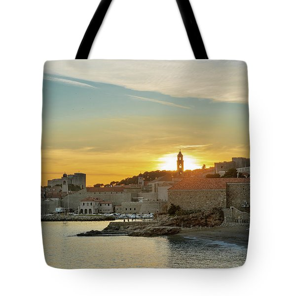 Tote Bag featuring the photograph Dubrovnik Old Town At Sunset by Milan Ljubisavljevic