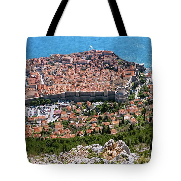 Tote Bag featuring the photograph Dubrovnik Panorama From The Hill by Milan Ljubisavljevic