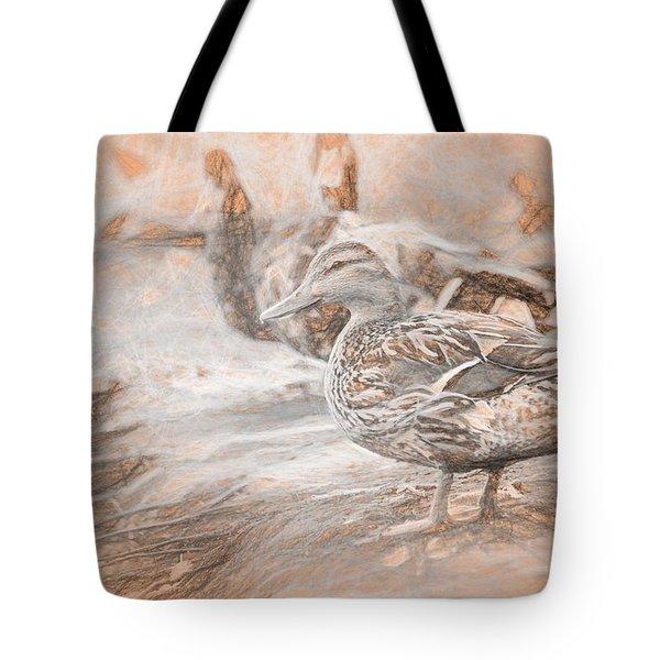 Ducks On Shore Da Vinci Tote Bag