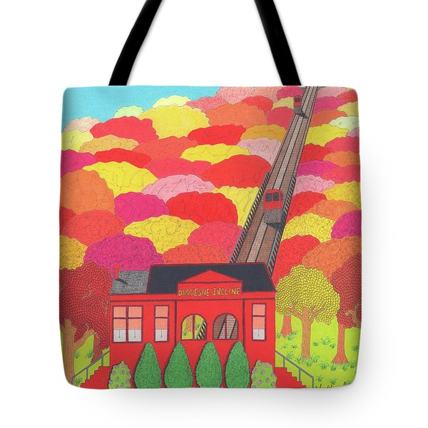 Tote Bag featuring the drawing Duquesne Incline by John Wiegand