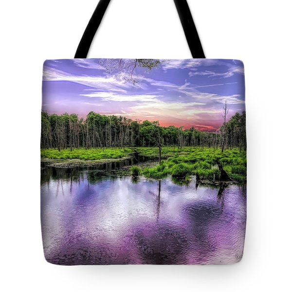 Dusk Falls Over New England Beaver Pond. Tote Bag