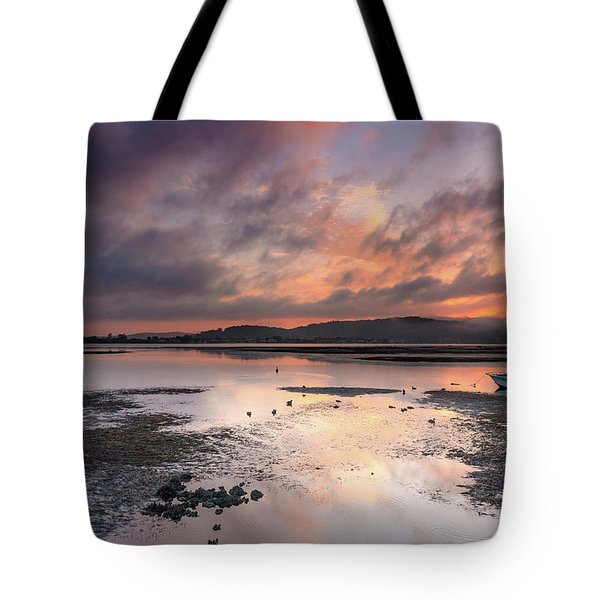 Dusky Pink Sunrise Bay Waterscape Tote Bag