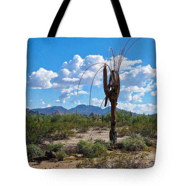 Dying Saguaro In The Desert Tote Bag