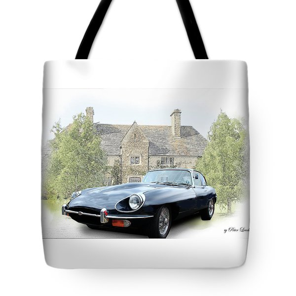 E Type Jaguar At Country House Tote Bag