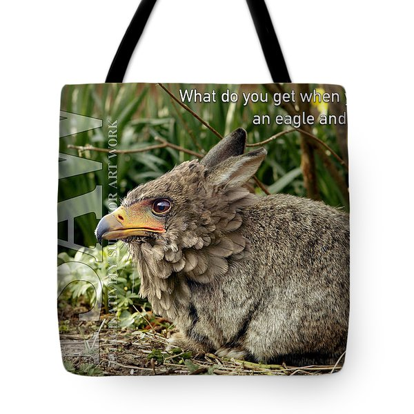 Tote Bag featuring the digital art Eaglabbit by ISAW Company