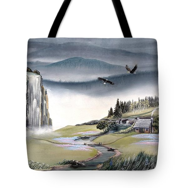 Tote Bag featuring the painting Eagle View by Deleas Kilgore