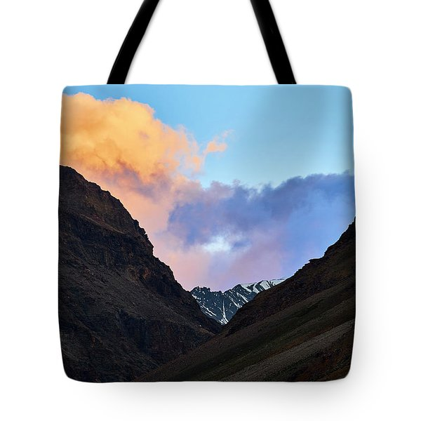 Tote Bag featuring the photograph Early Morning Clouds In Sarchu by Whitney Goodey