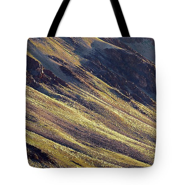 Tote Bag featuring the photograph Early Morning Light On The Hillside In Sarchu by Whitney Goodey