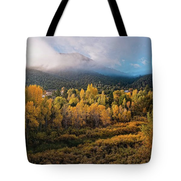 Early Morning Panorama Of Changing Aspens And Picacho Peak - Twomile Reservoir - Santa Fe New Mexico Tote Bag