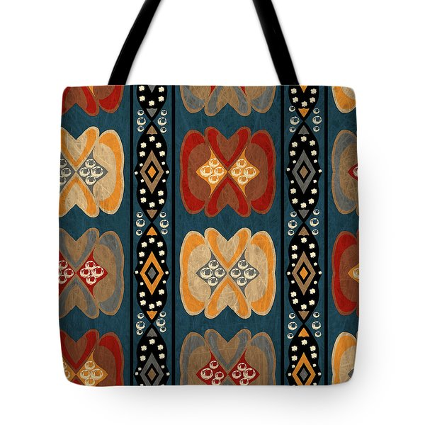 East African Heart And Diamond Stripe Pattern Tote Bag