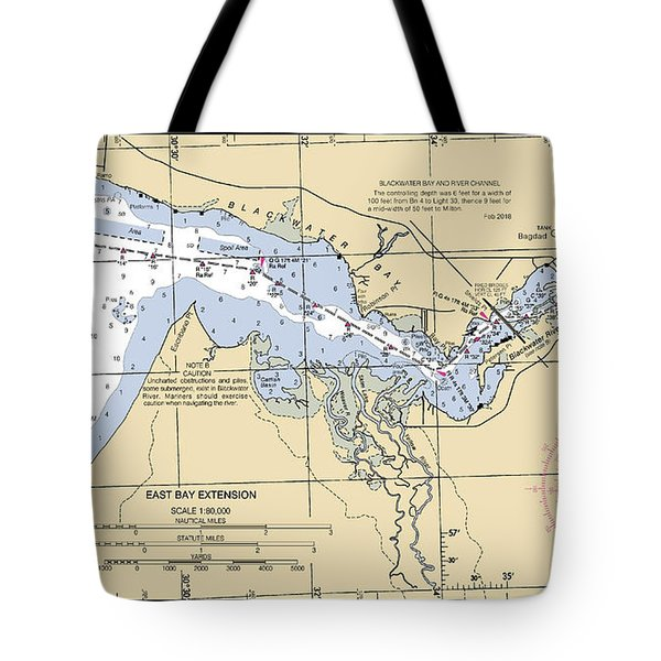 East Bay Extension Noaa Chart 11385_5 Tote Bag