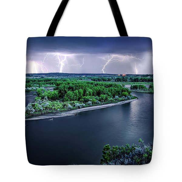 Tote Bag featuring the photograph East Montana Lightning Storm by Leland D Howard