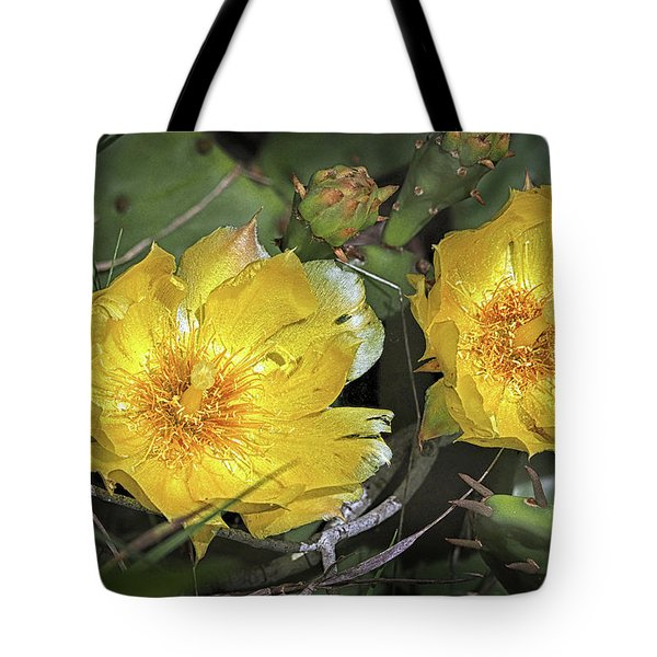 Tote Bag featuring the photograph Eastern Prickley Pear Cactus Flower On Assateague Island by Bill Swartwout Fine Art Photography