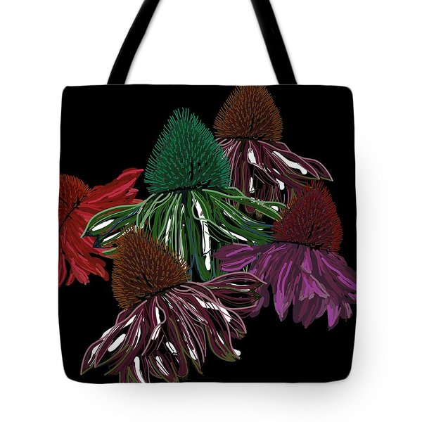 Echinacea Flowers With Black Tote Bag