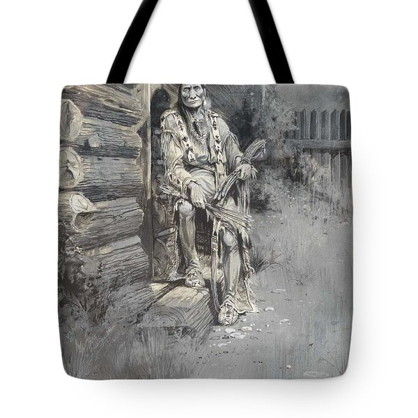Edgar S. Paxson 1852-1919 He Waited At The Block-house Door, Fort Astoria 1905 Tote Bag