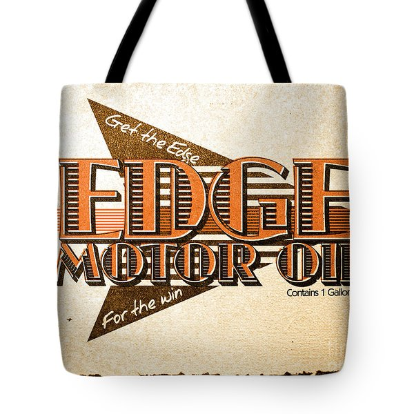 Edge Motor Oil Tin Sign Tote Bag