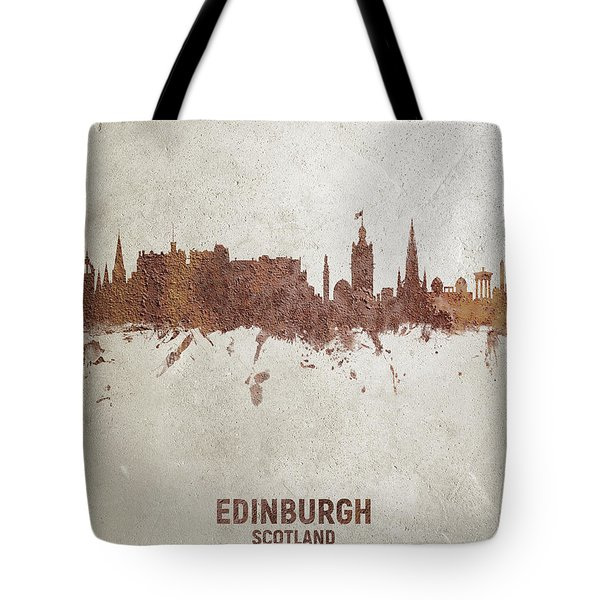 Edinburgh Scotland Rust Skyline Tote Bag