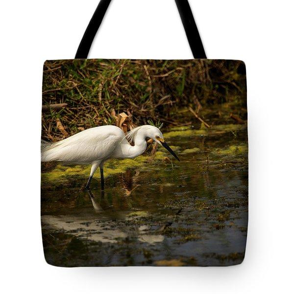 Egret Hunts Tote Bag