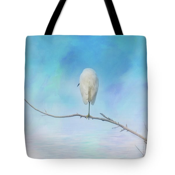 Egret On A Branch Tote Bag
