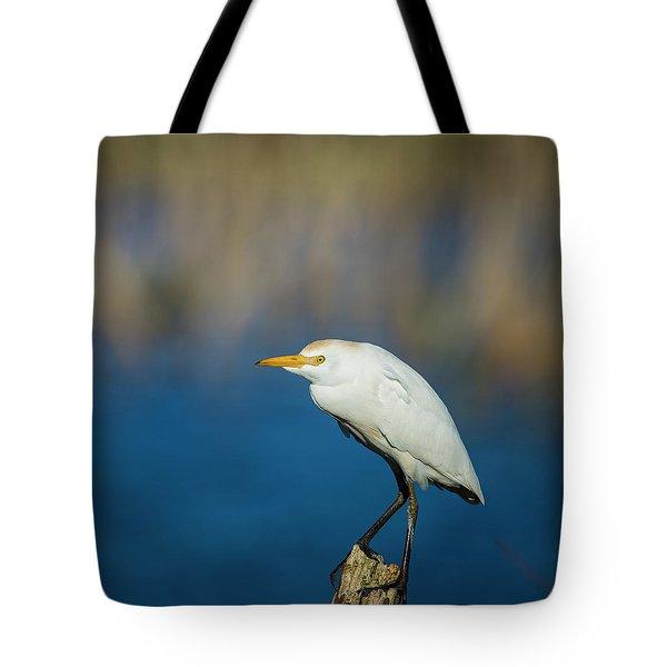 Egret On A Stick Tote Bag