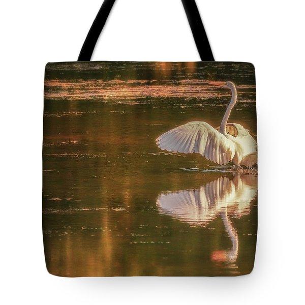 Egret Reflections 2 Tote Bag