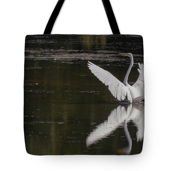 Egret Reflections Tote Bag