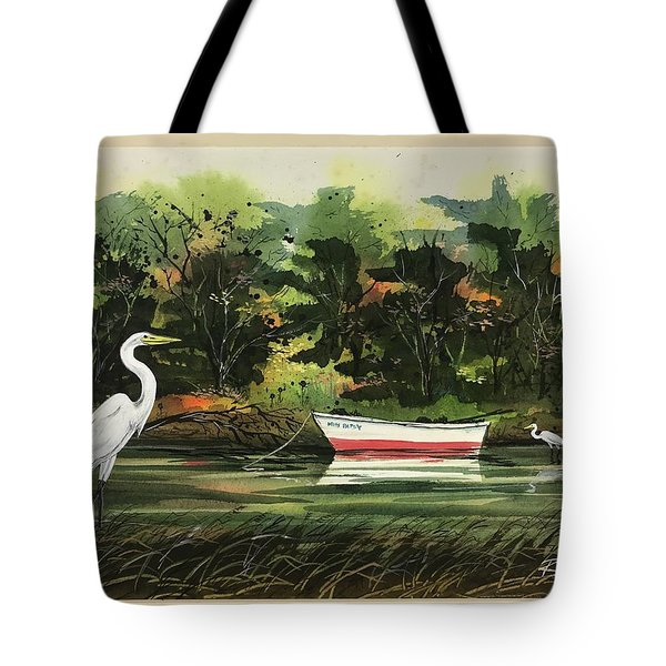 Egrets And Dingy Tote Bag