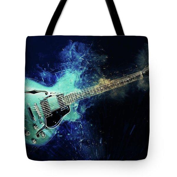 Electric Blue Guitar Tote Bag