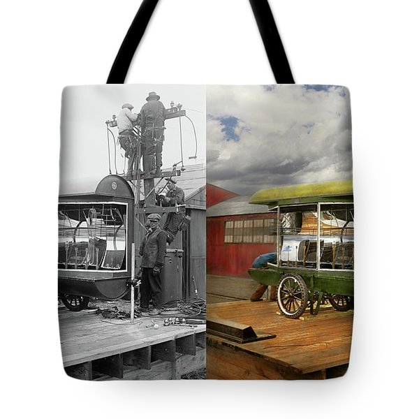 Tote Bag featuring the photograph Electrician - Linemen - Installing Search Lights 1929 - Side By Side by Mike Savad