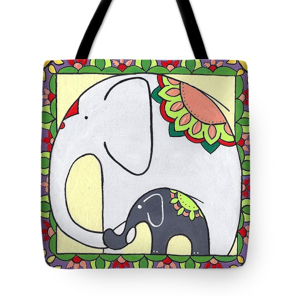 Elephant And Child 6 Tote Bag
