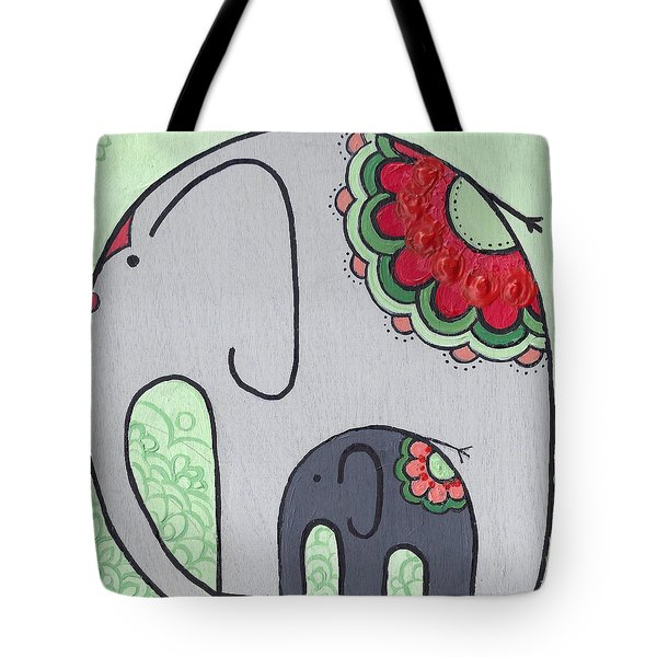 Elephant And Child On Green Tote Bag