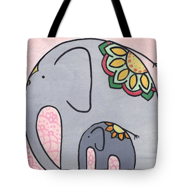 Elephant And Child On Pink Tote Bag