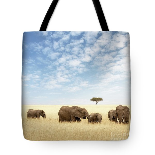 Elephant Group In The Grassland Of The Masai Mara Tote Bag