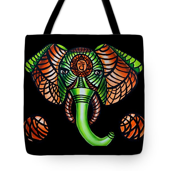 Elephant Head Painting Sacral Chakra Art Zentangle Elephant African Tribal Artwork Tote Bag