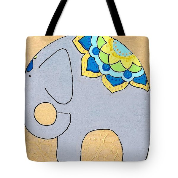 Elephant On Gold Tote Bag