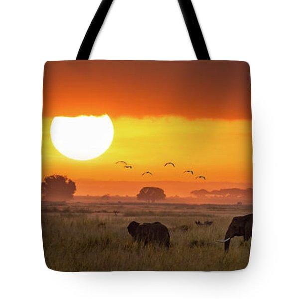Elephants At Sunrise In Amboseli, Horizonal Banner Tote Bag