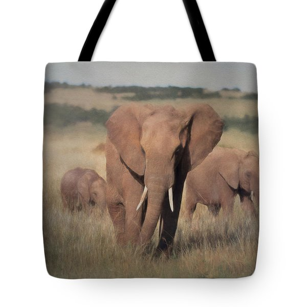 Elephants In The Grass Tote Bag