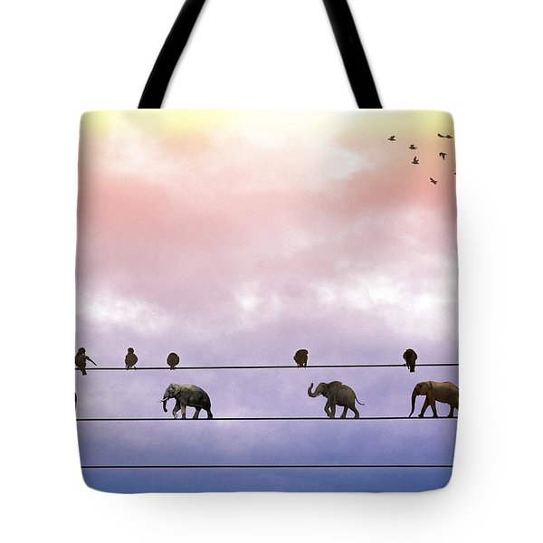 Elephants On The Wires Tote Bag