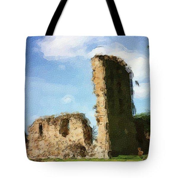 Elgin Cathedral Ruins Painting Tote Bag