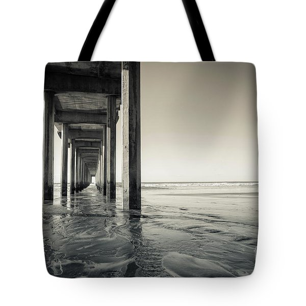 Ellen Browning Scripps Memorial Pier Black And White Tote Bag