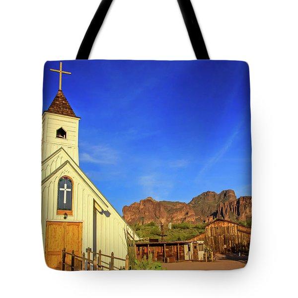 Elvis Chapel At Apacheland, Superstition Mountains Tote Bag