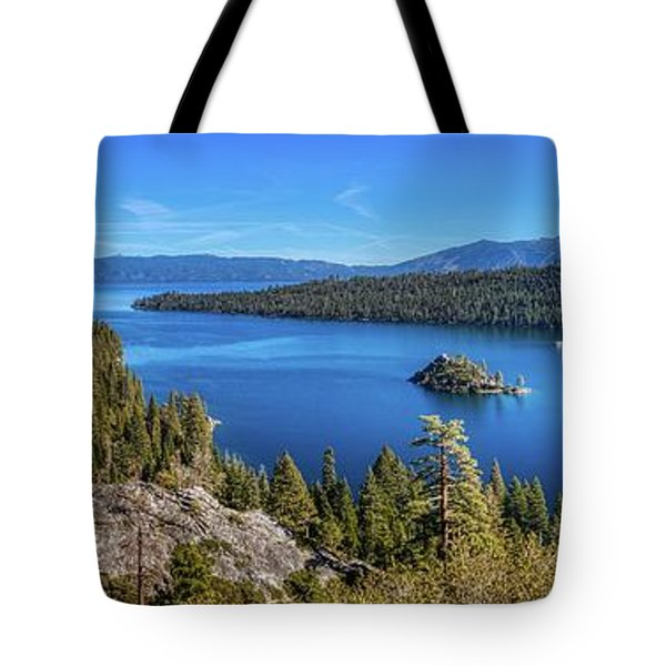 Tote Bag featuring the photograph Emerald Bay And Fannette Island Panorama by Andy Konieczny