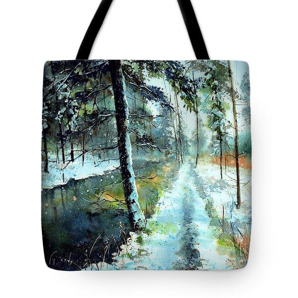 Emerald Winter Scene Tote Bag